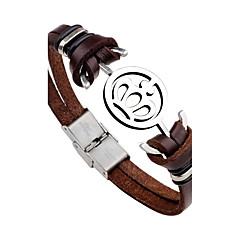 Heren Lederen armbanden Modieus PERSGepersonaliseerd Rock Roestvast staal Leder Kroonvorm Anker Sieraden Voor Dagelijks Causaal Toneel