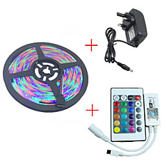 1kpl hkv® 5m 3528smd 300led rgb led-nauhat valo vedenpitävä led-nauha mini wifi-johto rgb-ohjain 3a-virtalähde dc 12v
