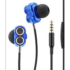 Qilian Q2 Korvassa Johto Kuulokkeet Dynaaminen Aluminum Alloy Pro Audio Kuuloke Melu eristävät Mikrofonilla Äänenvoimakkuuden säätö HIFI
