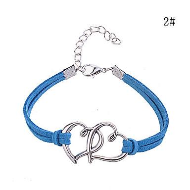 Double Heart Pattern Leder Lichtmetalen Charm Bracelet