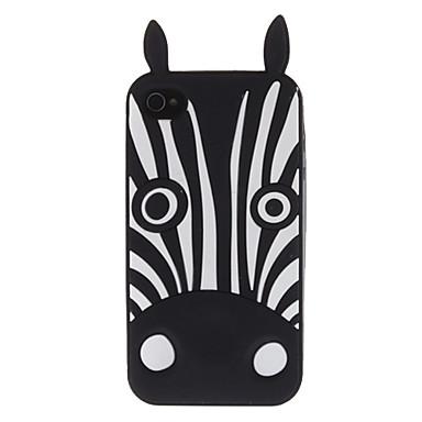Black Zebra Pattern Soft Case for iPhone 4/4S