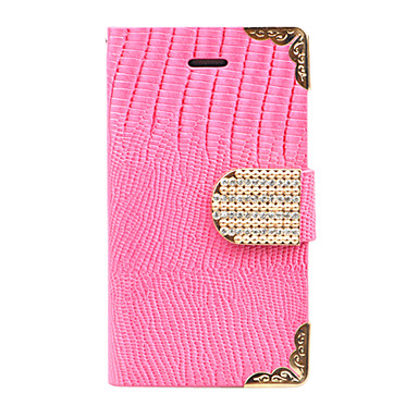 Joyland Metal Edge Zircon Clasp Crocodile Grain Full Body Case for iPhone 4/4S(Random Color)
