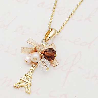 Women's Pendant Necklaces Alloy Simulated Diamond Fashion Golden Jewelry Party 1pc