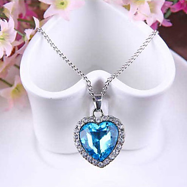 Women's Pendant Necklaces Acrylic Alloy Heart Fashion Blue Jewelry Party 1pc