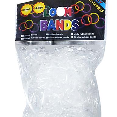 Regenbogen Loom Stil Transparent Elastic Praktische Gummiband (600 Stk Bands24 Stk C oder S-Clips)