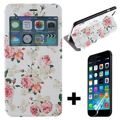 Pfingstrosen Schöne Blumen-Muster PU-Leder Ganzkörper mit Schirm-Schutz-Abdeckung für iPhone 6 Plus