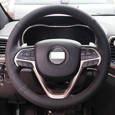 xuji black genuine leather steering wheel cover for jeep. Black Bedroom Furniture Sets. Home Design Ideas