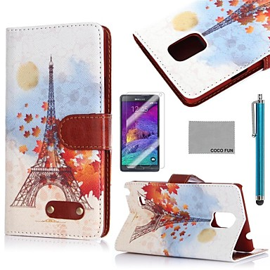 COCO FUN Sun Effiel Tower Pattern PU Leather Case with Screen Protector, Stylus and Stand for Samsung Galaxy Note 4