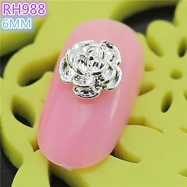 10st rh988 speciaal ontwerp zilveren roos luxe 3d legering nail art diy nagel schoonheid nagel - Decoratie murale ontwerp salon ...