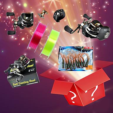 Package Sales Goody Bag (11 Right Hand Fishing Reels+3g Fishing Lures+Fishing Lines 100 Meters)(Random Color)
