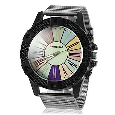 Men's Round Case Colorized Roman Number Dial Steel Band Quartz Wrist Watch (Assorted Colors)
