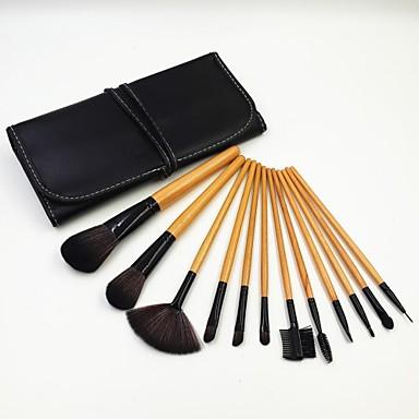 12pcs Natrual деревянной ручкой кисти для макияжа Набор Черный Литер пакет
