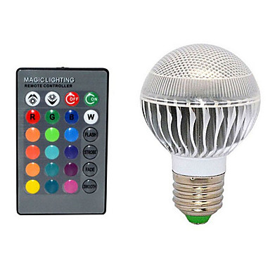 E27 10W 72LM 2800-3500/6000-6500K Color-Changing Remote-Controlled Globe Bulbs AC 220V