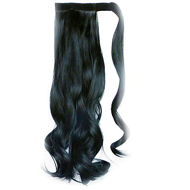 Wig Black 45CM Synthetic High Temperature Wire Curly Horsetail Color 1