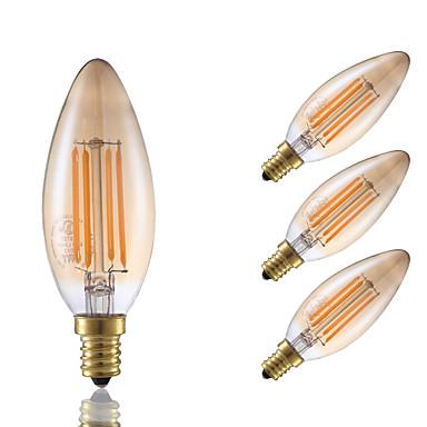 3.5 E12 Lâmpadas de Filamento de LED B 4 COB 300 lm Âmbar Decorativa / Regulá...