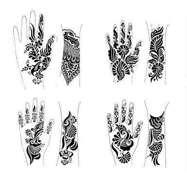 1pcs tattoo templates hands feet henna tattoo stencils for airbrushing professional mehndi new. Black Bedroom Furniture Sets. Home Design Ideas