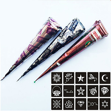 3 pieces henna tattoo kits cones red brown black colors for Temporary tattoo kit online
