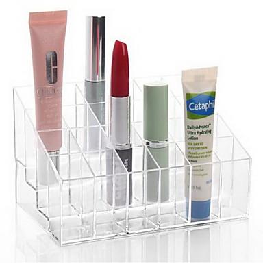 Makeup Storage Acrylic Transparent 24 Lattice 14.59.57.5 Acrylic Trapezoid Lipsticks Cosmetic Perfume Organizer Display Holder Storage Shelf