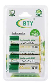 bty 2500mAh AA Ni-MH oplaadbare batterij set (4-pack)