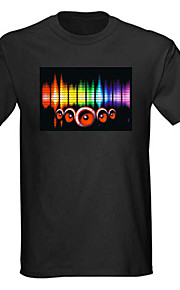 Lyd og musik aktiveres spektrum VU Meter EL Visualizer LED T-shirt (4 * AAA)