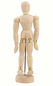 """træ 14-joint bevægelig dukke model med display bund (5,5 """")"""