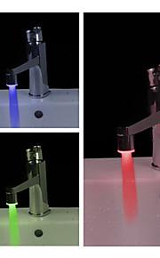 Moderiktig vattentyrd badrumkran med LED-belyning (plat, kromfinih)