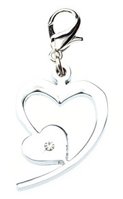 Cat / Dog Tag Heart Shaped / Rhinestone Silver Metal