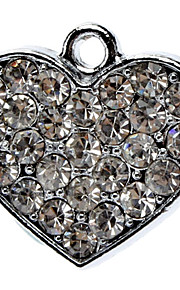Full Rhinestone Decorated Heart Shape Collar Charm for Dogs Cats