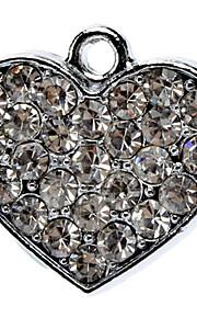 Fuld Rhinestone Dekoreret Heart Shape Collar Charm til hunde Katte