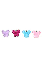 Silver Plated Alloy Zircon Butterfly Pattern Anti-dust Plug(Random Colors)