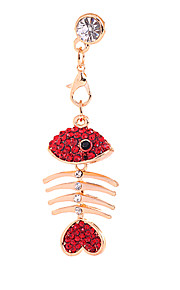 Red Fishbone Alloy Chain Zircon Anti-støv Plug