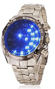 Masculino Relógio de Pulso Digital LED Aço Inoxidável Banda Prata marca-