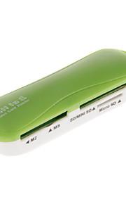 4-in-1 USB 2.0 Memory Card Reader (Pink / Orange / Grün / Schwarz)
