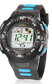 Masculino Relógio Esportivo Digital LCD / Calendário / Cronógrafo / alarme Borracha Banda Azul / Vermelho / Amarelo marca-