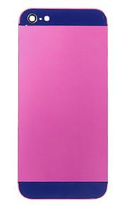 Fuchsia Liga de Metal Voltar Bateria Caixa com vidro da marinha para iPhone 5