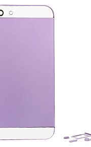 Purple Metal Alloy Tilbake batterihuset med knapp og hvitt glass For iPhone 5