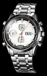 Masculino Relógio Elegante Quartzo Japonês LCD / Compass / Calendário / Cronógrafo / Impermeável / Dois Fusos Horários / alarmeAço