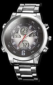 Masculino Relógio Militar Quartz LED / LCD / Calendário / Cronógrafo / Dois Fusos Horários / alarme Aço Inoxidável Banda Prata marca-