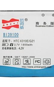 bateria de substituição li-ion 3.7v 1800mAh alta capacidade para HTC G21 / x310e