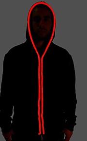 mænds sort lys op hættetrøje med rød el ledning førte glød blinkende fest bar raver festival langærmede 2 AA batterier