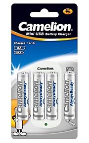 camelion standaard lader voor AA / AAA batterij met 4 stuks AlwaysReady 800mAh Ni-MH AAA oplaadbare batterijen