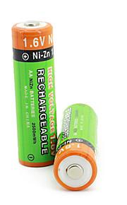 2 stuks pkcell kleurrijke 1.6v 2500mAh AA Ni-zn set oplaadbare batterijen