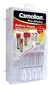 camelion plus alkaline Family Pack inbegrepen 20st aaa / aa / c / d / 9v batterijen, 1pc batterij tester en 8 stuks batterij adapter.