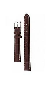 14 milímetros relógio de couro marrom liga durável pu cinta banda fivela costura branca