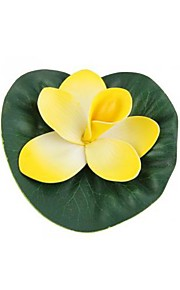 Plastic Artificial Floating Lotus Yellow Aquarium Fish Tank Pond Pool Decoration
