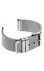 22 milímetros de espessura unisex relógio de aço malha pulseira pulseira banda pin fivela de moda prata