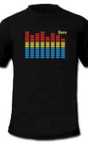 LED-T-shirts Lydaktiverede LED-lys Tekstil S M L XL XXL Nyhed Sort 2 AAA Batterier