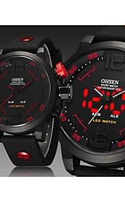 Masculino Relógio de Pulso Quartzo Japonês LED / Calendário / Impermeável / Dois Fusos Horários / alarme Silicone Banda Preta marca