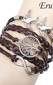 leather Charm Bracelets Eruner® Women's Multilayer Alloy Love Birds Life Tree and Infinity Handmade Leather Bracelet inspirational bracelets