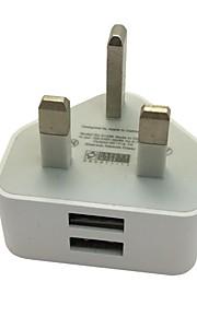 dubbla portar 2 usb nätadapter uk 3 stift vägg plug nätladdare för iphone ipad (blandade färger)